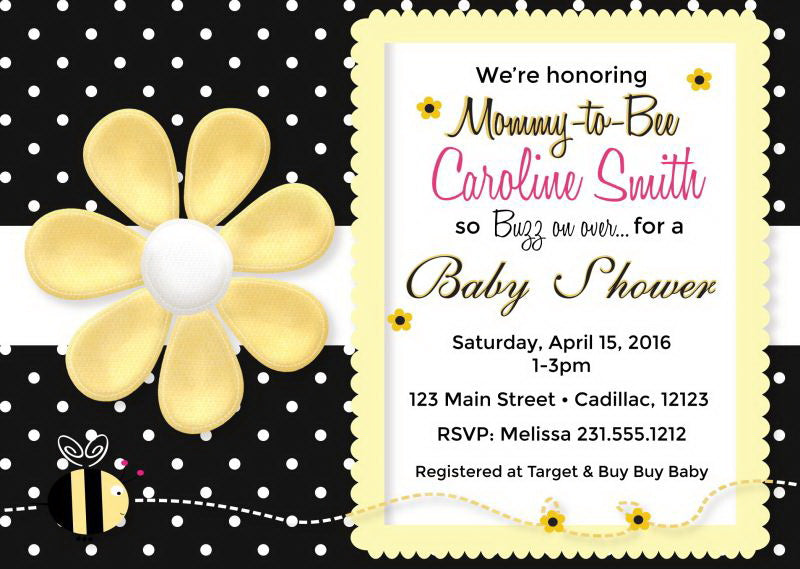Buzzy Bee Baby Shower Invitations