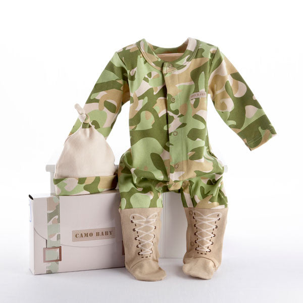 Personalized Baby Boy Camo Layette Ensemble (#BA12) - StorkBabyGiftBaskets - 2