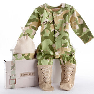 Personalized Baby Boy Camo Layette Ensemble (#BA12) - StorkBabyGiftBaskets - 1