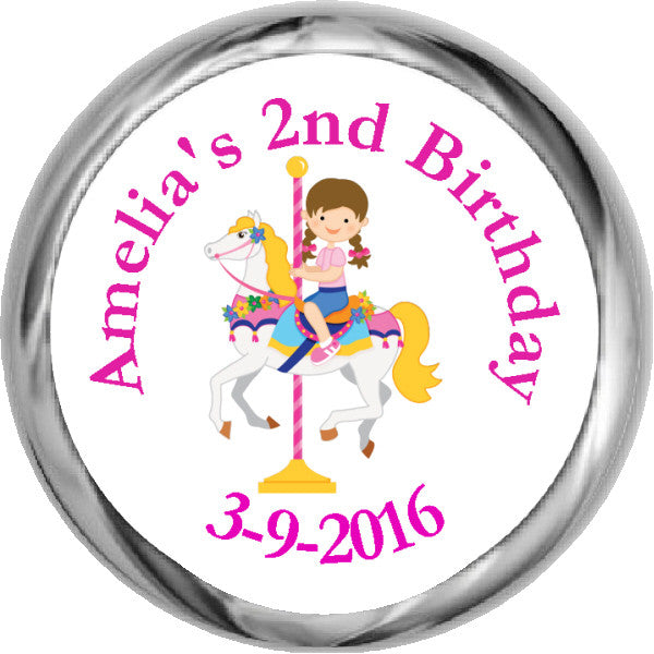 Carousel Girl  - HERSHEY KISSES Birthday Stickers (#HKS318) - StorkBabyGiftBaskets