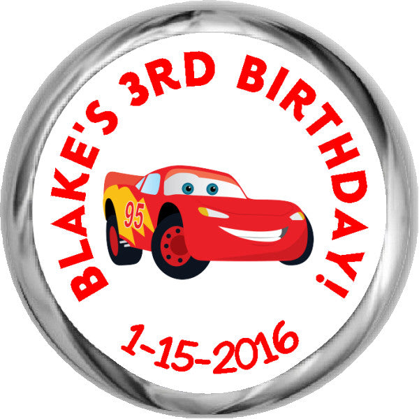 Lightning McQueen -  HERSHEY'S Birthday Kid Stickers (#HKS339) - StorkBabyGiftBaskets