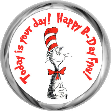 Cat In The Hat - Kids Custom Hershey Stickers (#HKS361)