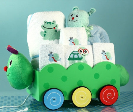 Caterpillar Wagon Layette Set - Boy (#BGC207) - Stork Baby Gift Baskets