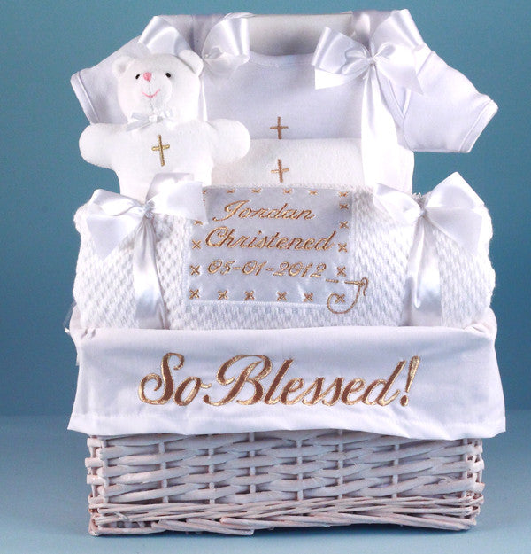 """So Blessed"" Christening Basket (#BGC157) - Stork Baby Gift Baskets"