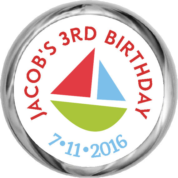 Colorful Sailboat  - Children's Birthday KISSES Stickers (#HKS307) - StorkBabyGiftBaskets