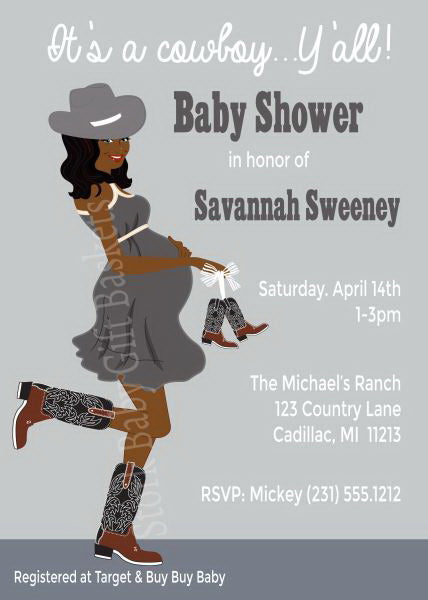 Country Western Baby Shower Invitations - African American