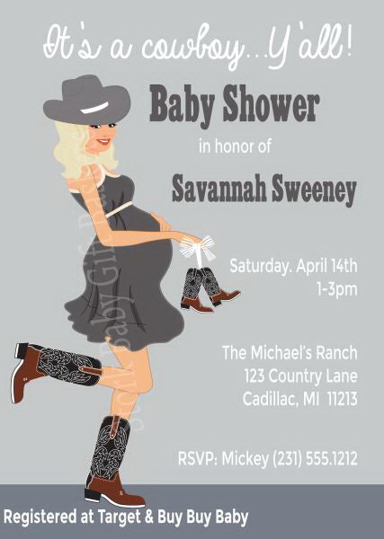 Country Western Baby Invitations - Blonde Hair
