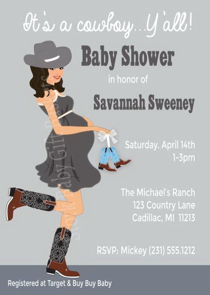 Country Western Baby Invitations - Boy