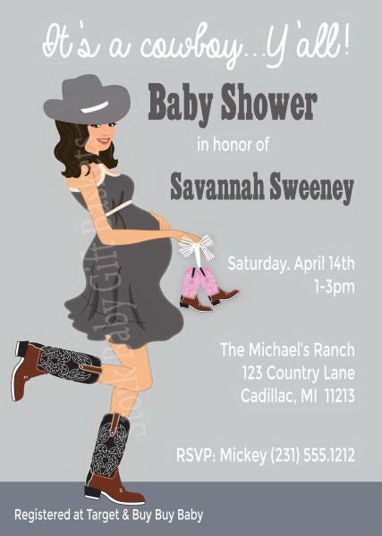 Country Western Baby Invitations - Girl