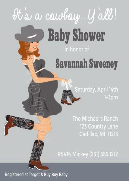 Country Western Baby Invitations - Red Hair