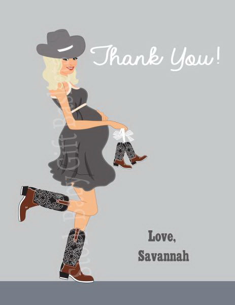 Country Western Baby Shower Thank You Card