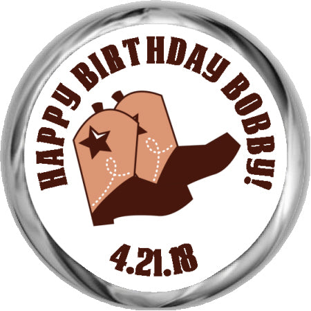 COWGIRL BOOTS - BIRTHDAY HERSHEY KISSES STICKERS (#HKS369)