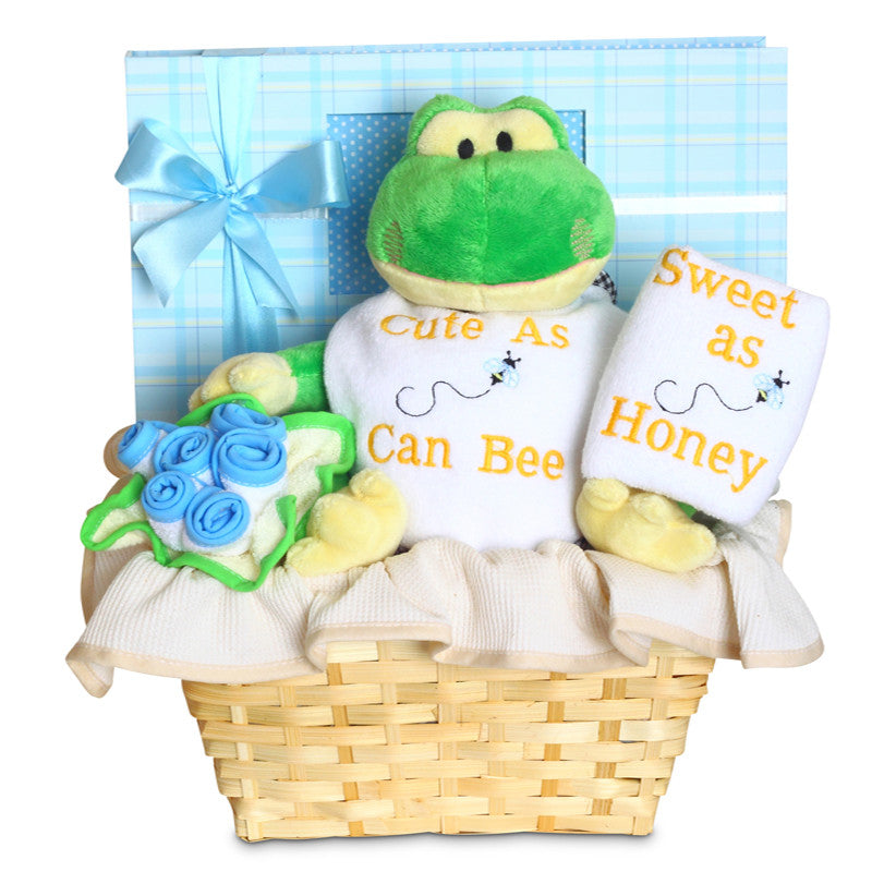 Cute and Sweet Baby Boy Basket (#BGC329) - Stork Baby Gift Baskets