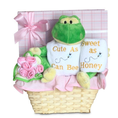 Cute and Sweet Baby Girl Basket (#BGC328) - Stork Baby Gift Baskets