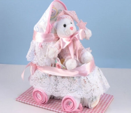 Baby Diaper Carriage (Pink) (#BGC76) - StorkBabyGiftBaskets