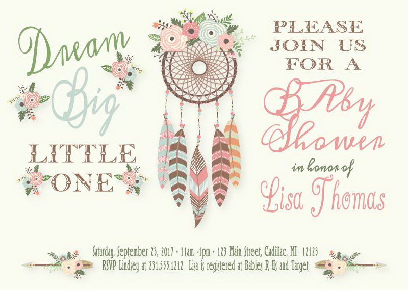 Boho Baby Shower Invitation - Dream Big Little One