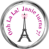 Eiffel Tower Paris - Personalized Girl's HERSHEY KISS FAVOR (#HKS327) - StorkBabyGiftBaskets