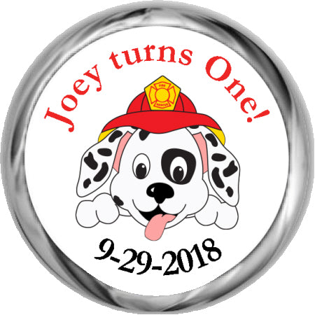 Firefighter Pup - Personalized Hershey Kisses Sticker