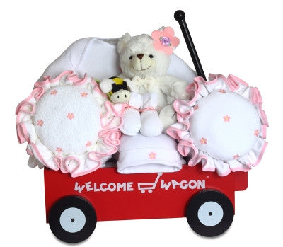 Flower Power Baby Girl Wagon (#BGC331) - Stork Baby Gift Baskets