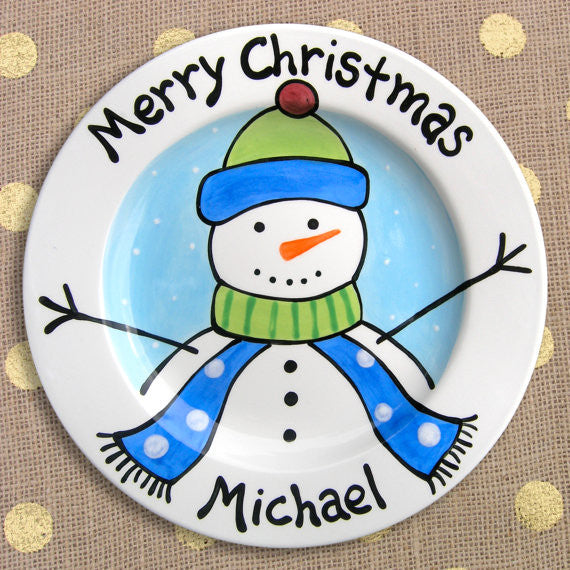 Frosty Friend Decorated Plate (Boy) (#LWC145) - Stork Baby Gift Baskets - 2
