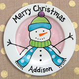 Frosty Friend Decorated Plate (Girl) (#LWC146) - Stork Baby Gift Baskets - 2