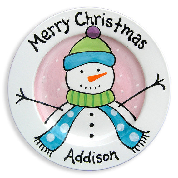 Frosty Friend Decorated Plate (Girl) (#LWC146) - Stork Baby Gift Baskets - 1