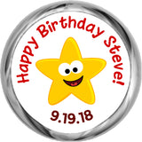 Funny Face Star for Boy - Birthday Sticker Favors
