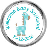 Giraffe Boy Hershey Kisses Shower Sticker (#HKS42) - StorkBabyGiftBaskets