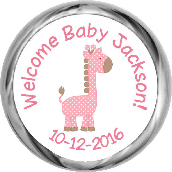 Giraffe Boy Hershey Kisses Shower Sticker (#HKS43) - StorkBabyGiftBaskets