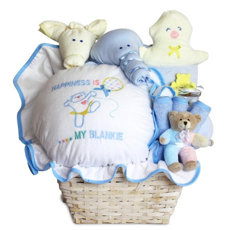 Baby boy baskets gift baskets for baby boys stork baby gift happiness basket boy bgc54 negle Gallery