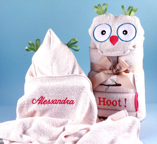 It's a Hoot Owl Hooded Bath Towel Set for Baby/Toddler (#BGC181) - StorkBabyGiftBaskets - 2