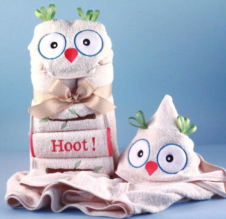 It's a Hoot Owl Hooded Bath Towel Set for Baby/Toddler (#BGC181) - StorkBabyGiftBaskets - 1