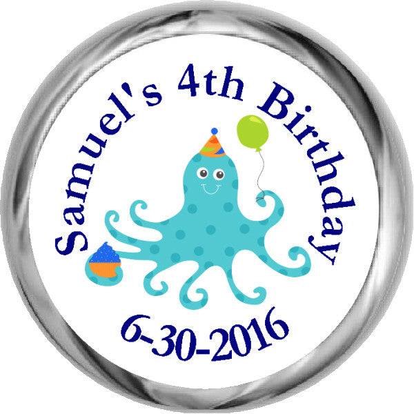 Birthday Octopus - Boy's Personalized HERSHEY'S Stickers (#HKS326) - StorkBabyGiftBaskets
