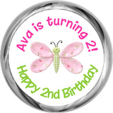 Pink Butterfly - Personalized HERSHEY KISSES Candy (#HKS322) - StorkBabyGiftBaskets