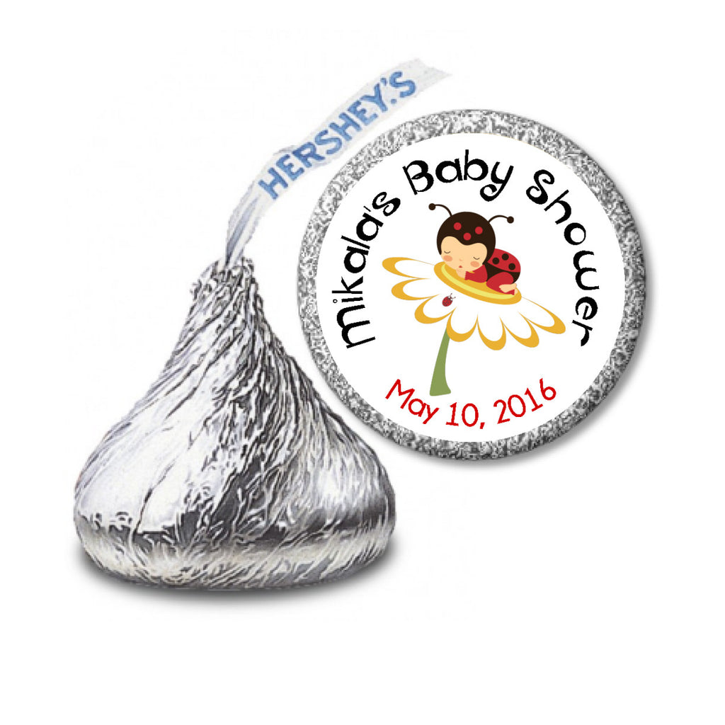 Little Ladybug Stickers -  Baby Girl HERSHEY'S KISSES (#HKS17) - StorkBabyGiftBaskets - 2