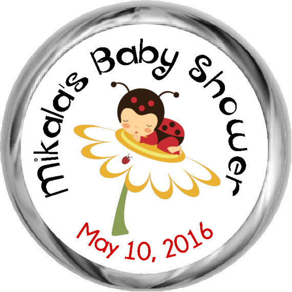 Little Ladybug Stickers -  Baby Girl HERSHEY'S KISSES (#HKS17) - StorkBabyGiftBaskets - 1