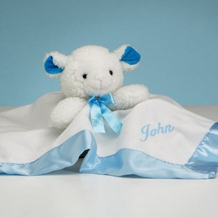 Lamb Snuggly Security Blanket - Boy (#BGC19) - Stork Baby Gift Baskets