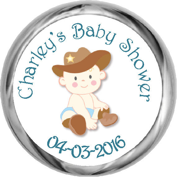 Lil' Cowboy Stickers - Personalized Kisses Candy (#HKS05) - StorkBabyGiftBaskets - 1