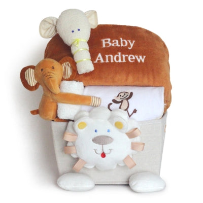 Lion Plush Baby Shower Basket