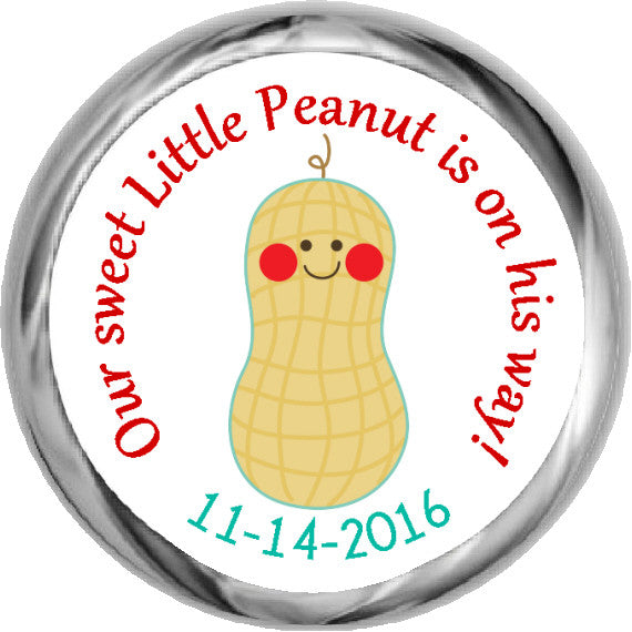 Little Peanut Stickers - Baby Boy Kisses Candy (#HKS28) - StorkBabyGiftBaskets - 1