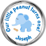 Little Peanut Elephant Sticker - Personalized HERSHEY KISS FAVOR (#HKS337) - StorkBabyGiftBaskets
