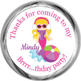 Mermaid (Blonde) - Birthday Hershey Kisses Stickers