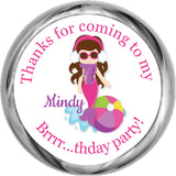 Mermaid (Brunette) - Birthday Hershey Kisses Stickers