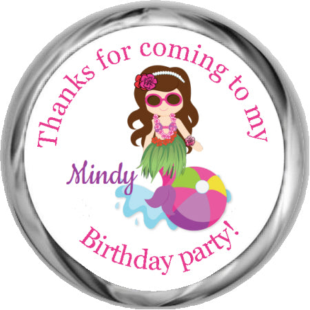 Mermaid Luau- Birthday Hershey Kisses Stickers