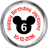 Mickey Mouse Sticker - Personalized HERSHEY KISS FAVOR (#HKS341) - StorkBabyGiftBaskets