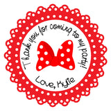 Minnie Mouse Hair Bow Birthday Party Stickers (#BPS7) - Stork Baby Gift Baskets