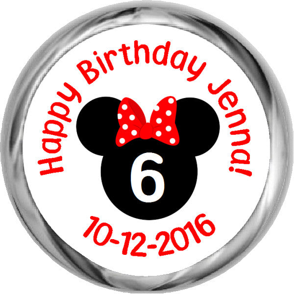 Minnie Mouse Sticker - Personalized HERSHEY KISS FAVOR (#HKS342) - StorkBabyGiftBaskets
