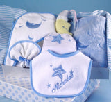 Moon & Stars Newborn Layette - Blue (#BGC28) - Stork Baby Gift Baskets