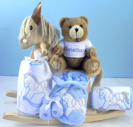 Rocking Horse Keepsake Gift Set - Boy (#BGC210) - StorkBabyGiftBaskets - 2