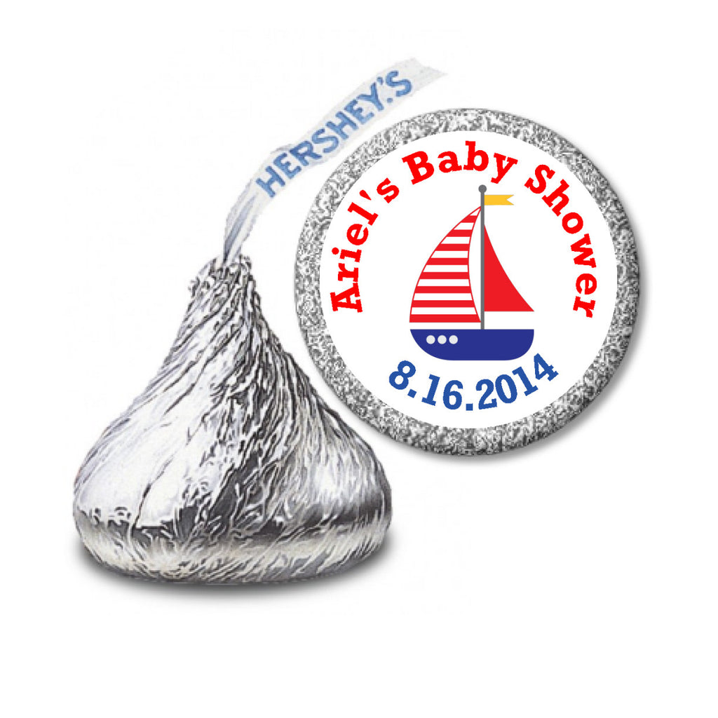 Nautical Sail Boat Stickers - Personalized Kisses Candy (#HKS38) - StorkBabyGiftBaskets - 2